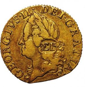 A 1760 half-guinea gold coin.